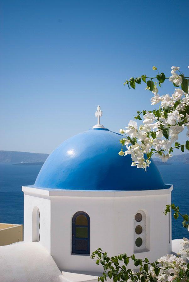 Blue church dome in Oia, Santorini