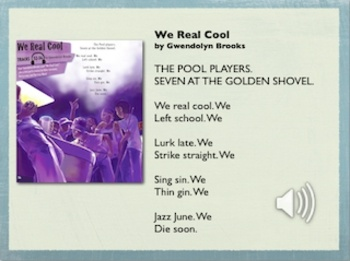 """essay on we real cool by gwendolyn brooks We real cool denise p neeley eng125: introduction to literature, instructor: erin schwartz november 25, 2013 we real cool """"we real cool"""" was written by gwendolyn brooks in 1960."""