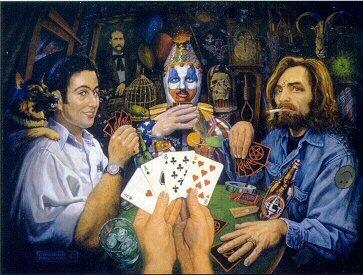A painting of John Wayne Gacy, Charles Manson and David Berkowitz playing cards.