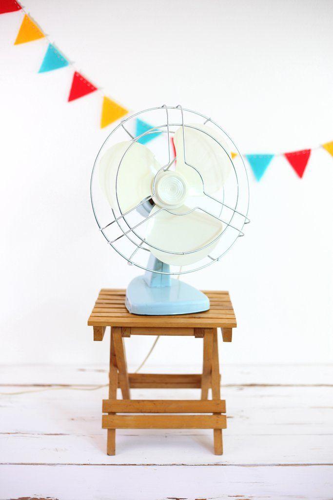 Vintage Sky Blue Electric Fan