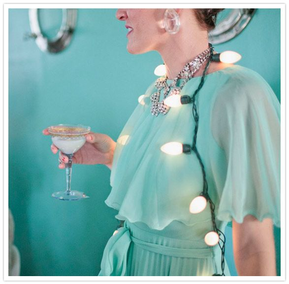 Aqua - Glamorous girly New Year's party inspiration styled by Mrs. Lilien & Sitting in a Tree and captured by Joielala - via 100layercake
