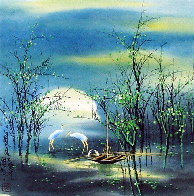 картина Летний пейзаж :: Тиан Вы, китайская живопись - Китай традиционная живопись Гохуа