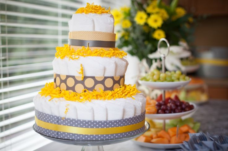 Gray and Yellow Diaper CakeShower Ideas, Mesnick Baby, Molly Mesnick, Diapers Cake, Diaper Cakes, Parties Ideas, Baby Gift, Baby Shower Cake, Baby Shower
