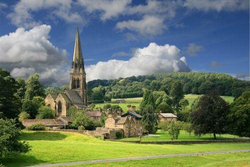 Church in Edensor, Derbyshire, England