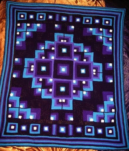 Mandala crochet blanket, text of pattern at link. Like this square design and colors. Would like to use them for round afghan as well. NOTE: look up conversion for pattern to USA it's written in UK gauge.