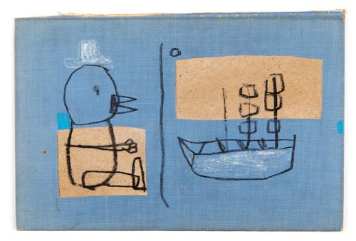 the bird wished the boat well5 1/16″ x 7 9/16″charcoal, resin...