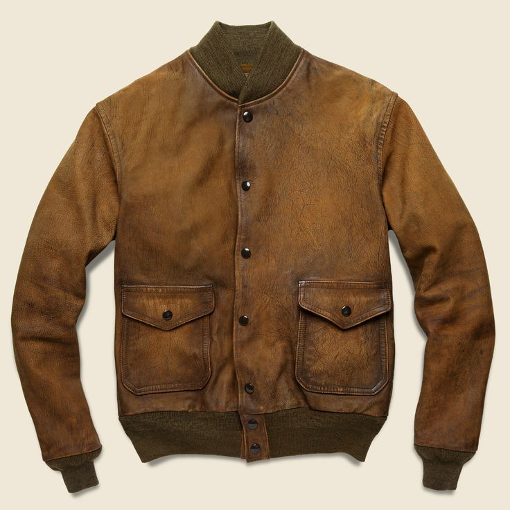 Leather Aviator Jacket - Brown