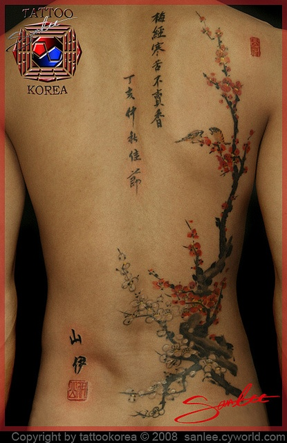 LOVE this cherry blossom tattoo done by San Lee (Tattoo Korea)!