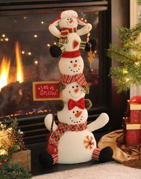 The Let It Snow Stacked Snowmen are sure to bring a smile to your face! #kirklands #holidaydecor