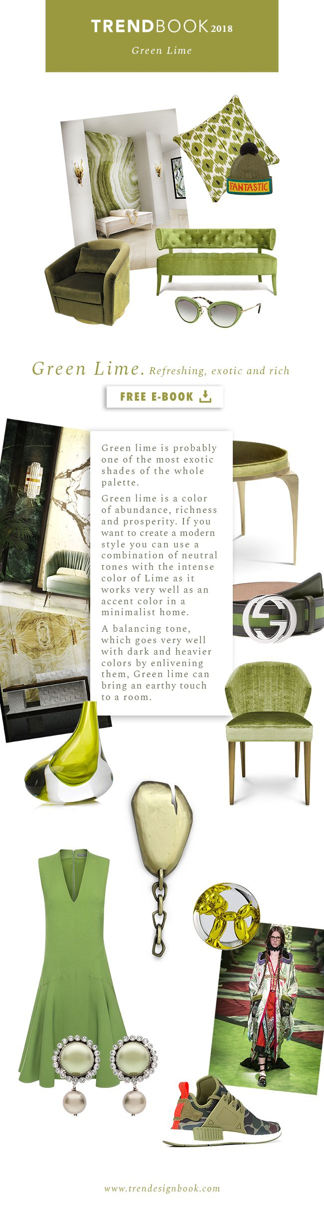 Trends 2018 / 2019 . Color Trends Green Lime . Moodboard