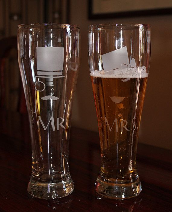 Mr and Mrs Beer Glasses  Hipster Beer Glasses  by capandbrue