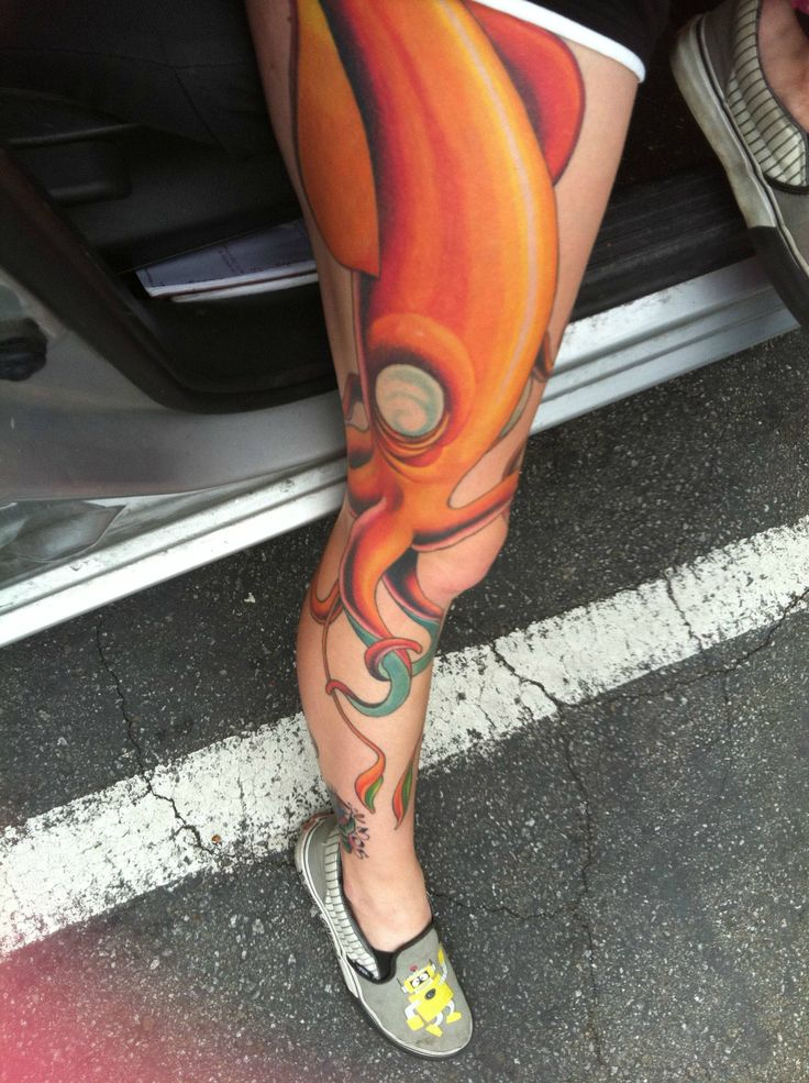 Squid -by Doug Love @ Staircase Tattoo in Santa Cruz, CA