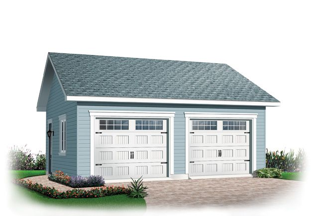 Simple 2 stall garage with service door garage house plan for Simple 2 car garage plans