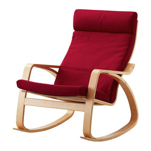 POÄNG Rocking chair - Dansbo medium red, birch veneer - IKEA