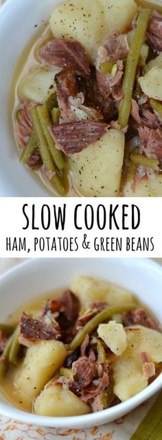 Ham, Green Beans & Potatoes is the ultimate easy slow cooker meal. Only 3 ingredients, but it's full of flavor! This is nutritious comfort food that your whole family will love eating for dinner. via @Alyssa @ Good + Simple