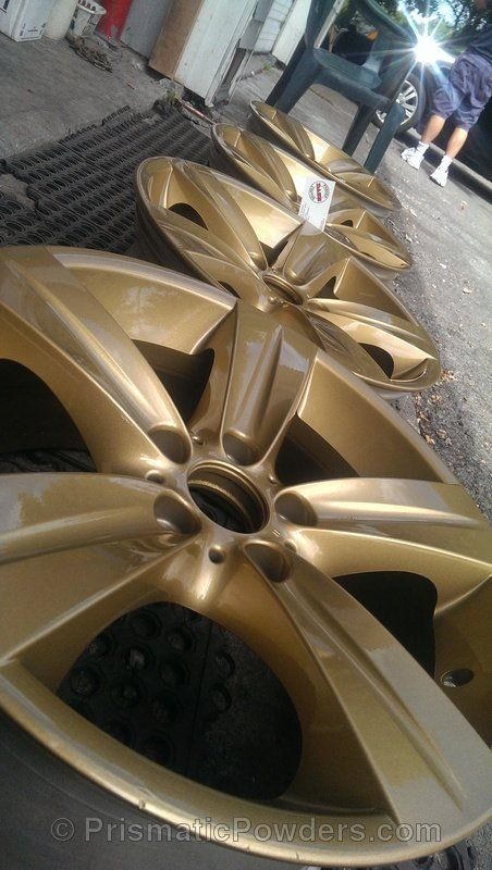Gold, wheels, Custom, Powder Coated, Powder Coating, Prismatic Powders - Spanish Gold with Clear Vision