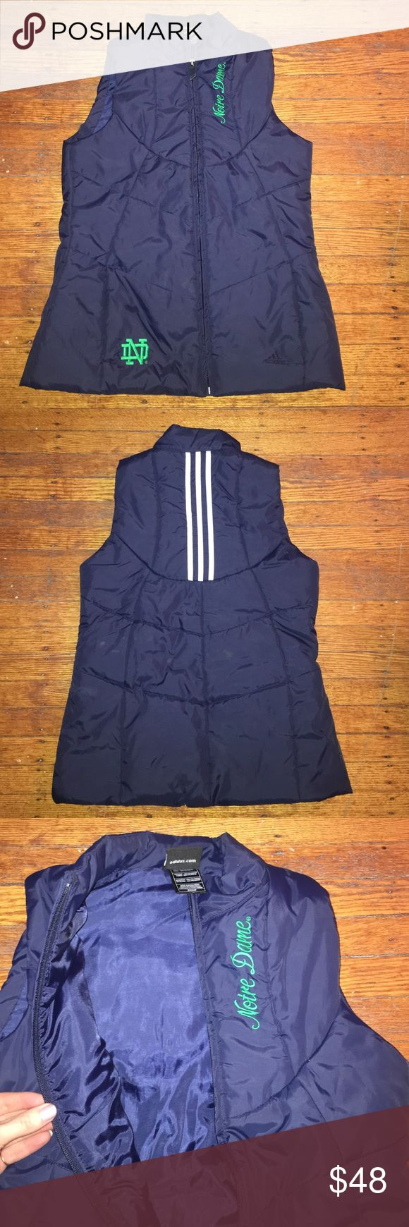 Notre Dame Adidas Vest Women's small navy blue Notre Dame vest! Great for chilly weather. Brand new, worn less than 5 times. Adidas Jackets & Coats Vests