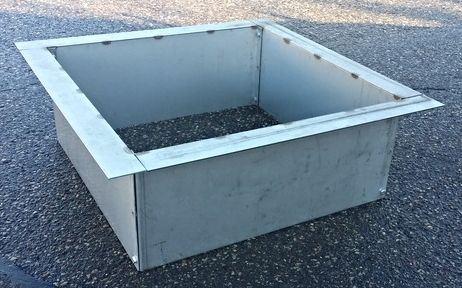 "Stainless Steel Square or Rectangular Fire Pit Liner-Top Flange https://www.RingOfFirePit.com Stainless Steel fire pit liners with top flange.Several sizes of top flange. Made from 10 gauge (approx 3/16"" thick) 12""-14"" or custom sizes.Visit our website www.HigleyFirePits.com"