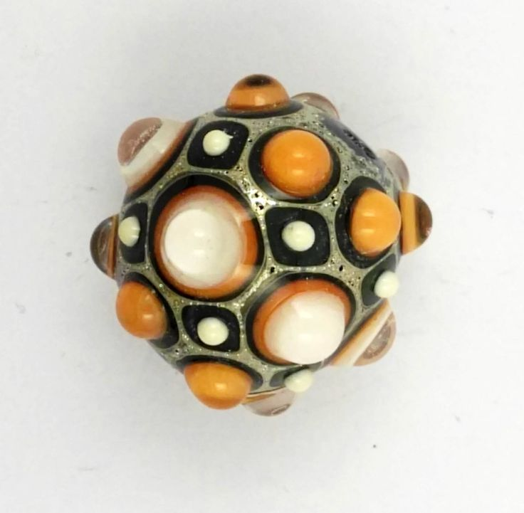 Lampwork glass bead in ivory and coral di alessiafuga su Etsy