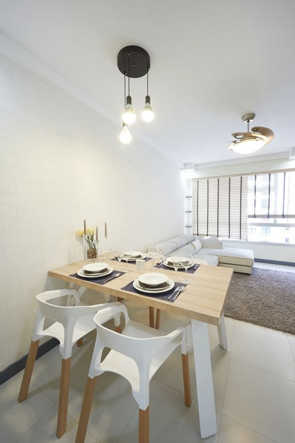 Dining table in living room hdb singapore singapore for Hdb minimalist interior design