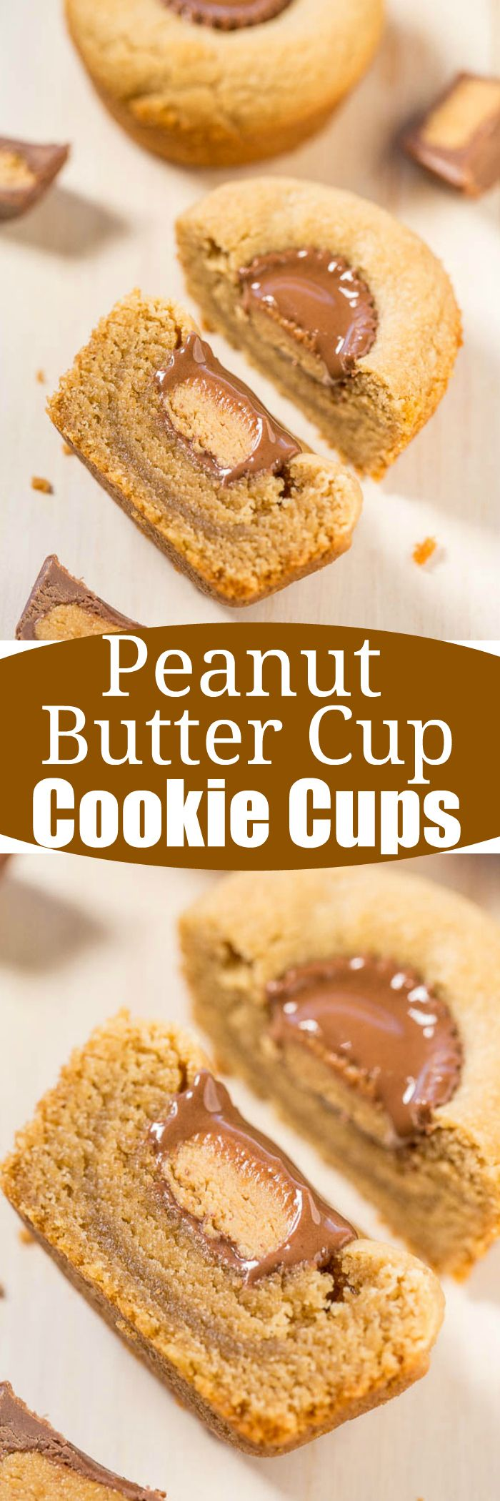 Peanut Butter Cup Cookie Cups - Have problems with cookies spreading? It's impossible with these easy, no-mixer, goofproof peanut butter cookies baked in a muffin tin!! The peanut butter cups make them SO irresistible!!