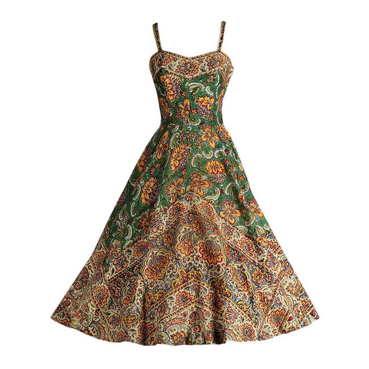 Vintage 1950's Del Mar Miami Cotton Ethnic Print Dress | From a collection of rare vintage day dresses at https://www.1stdibs.com/fashion/clothing/day-dresses/