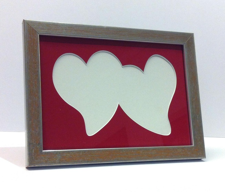 Double Heart Matboard With Frame Silver Leaf