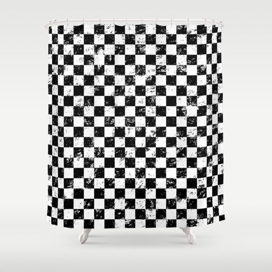 black and white, distressed checkered pattern shower curtain