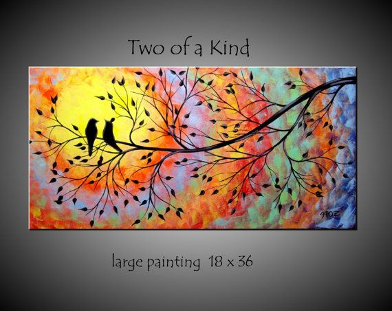 Large Abstract Love Birds in Tree Painting by jmichaelpaintings, $149.00