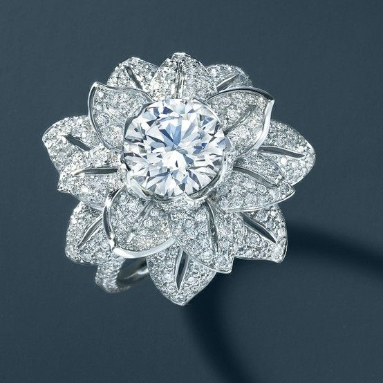 Diamond flower ring. From The Great Gatsby Collection, jewelry inspired by Baz Luhrmann's film in collaboration with Catherine Martin.