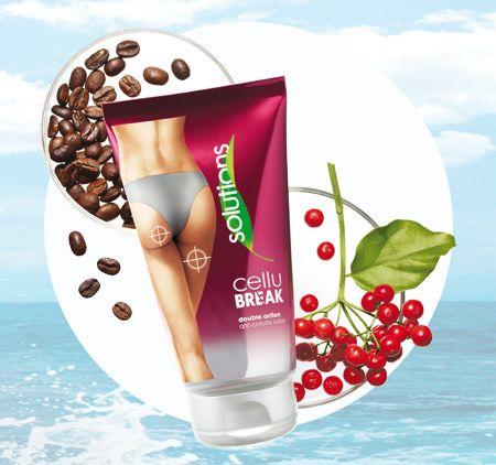 """AVON Solutions Cellu-Break. Die Anti-Cellulite-Lotion mit Zweifachwirkung. Die Formel mit bahnbrechendem Weißdornextrakt und """"Coffee-Bean""""-Komplex hilft, das Erscheinungsbild von Cellulite zu mildern und steigert die Auflösung von Fettzellen."""