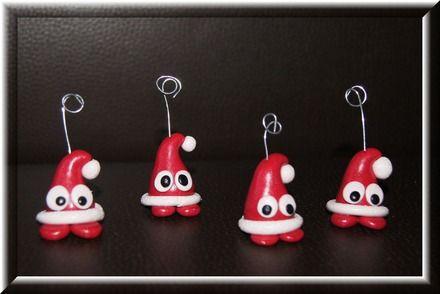 Trop mignons ces petits bonnets de père Noël réalisés à la main sans moules, ils viendront agrémenter vos tables de réveillons, je peux sur demande les créer d'une autre co - 4309575