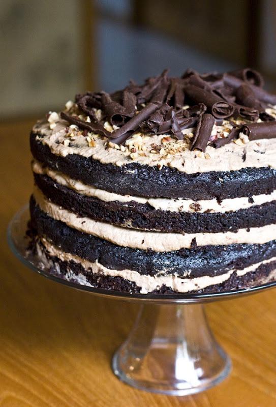 OMG! I get a headache just from looking at it :-P: Cake Recipe, Chocolates Hazelnut, Chocolates Cake, Mousse Layered, Hazelnut Mousse, Layer Cakes, Layered Cake, Birthday Cake, Chocolate Cakes