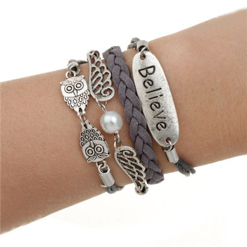 Various style fashion jewelry leather double infinite multi-layer bracelet