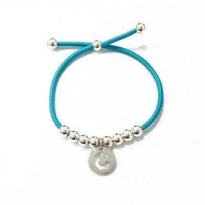 Pulsera de goma elástica azul con inicial y bolitas de plata   Disponible todas las iniciales  25,00 € Letras A B C D E F G H I J K L M N O P Q R S T U V W X Y Z - See more at: http://girbesjoyas.com/es/joyas/pulseras/31431-detail#sthash.jtesk4N8.dpuf