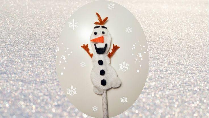 Lápiz de Olaf en Fieltro,paso a paso y con plantilla,para tus fiestas temáticas de Frozen o para regalar :)