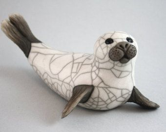 Seal Pup on belly ceramic raku fired handmade by TamarValleyArt