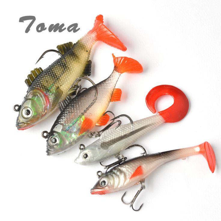 TOMA 4PCS Long Tail Soft Lead Fish Fishing Lures Luminous Sea Fishing Tackle Soft Bait Bass Lure With Treble Hooks #Affiliate