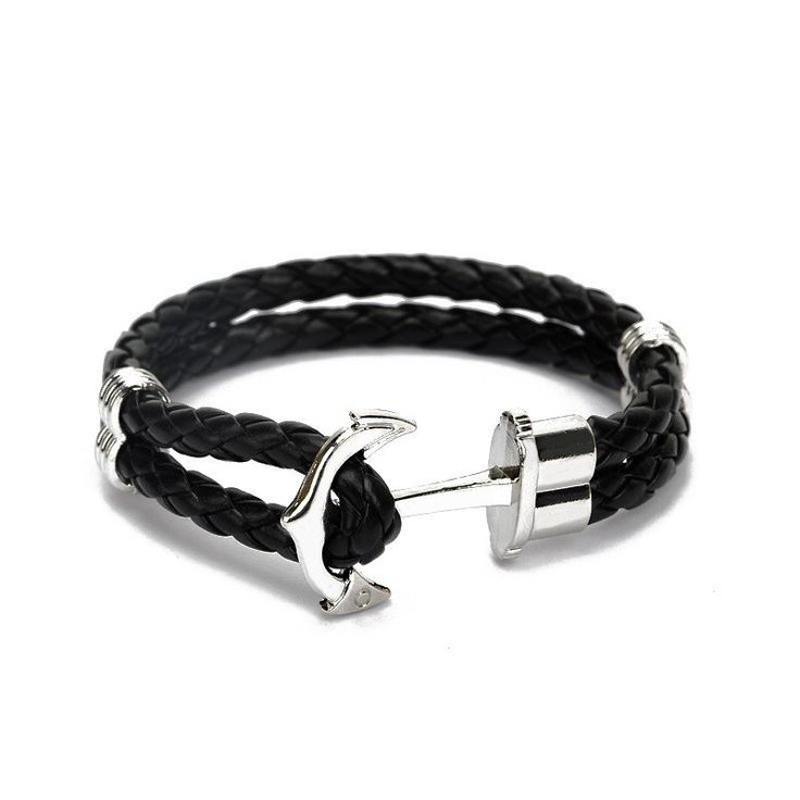 Stainless Steel Anchor Leather Men's Bracelet [7 Colors]