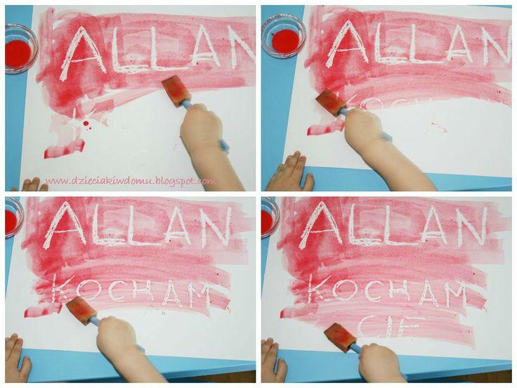 Magiczne literki - malowanie farbą i woskiem - zabawa dla dzieci / painting with watercolors and candle wax