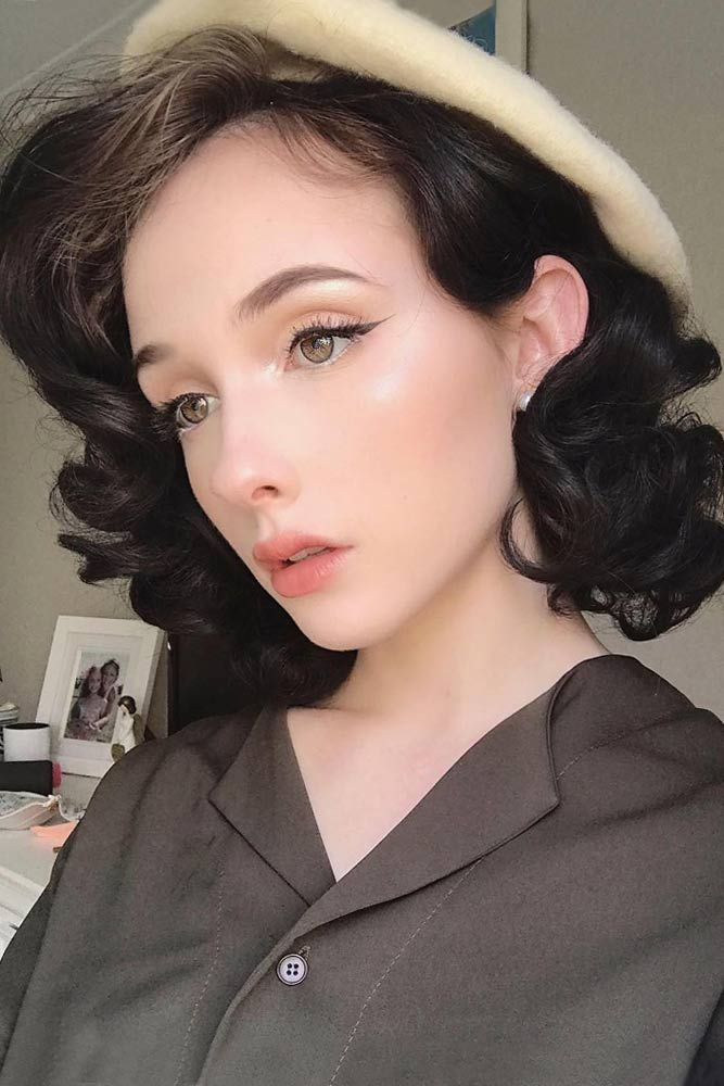 45 Fancy Ideas To Style Short Curly Hair Lovehairstyles Com Short Curly Hair Vintage Curly Hair Curly Hair Styles