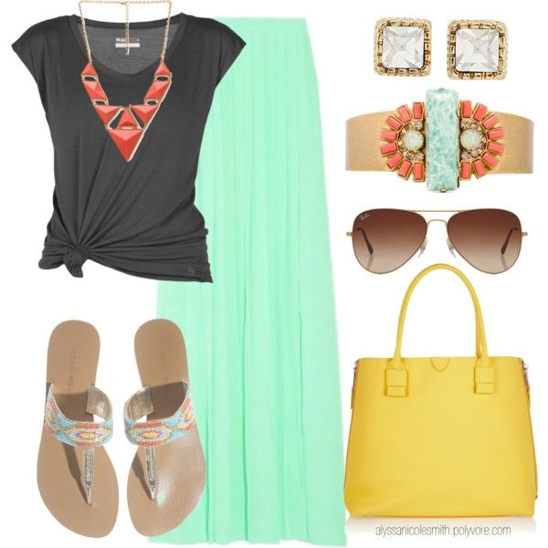 """""""Spring Time Maxi Skirt Outfit 20"""" by alyssanicolesmith on Polyvore"""