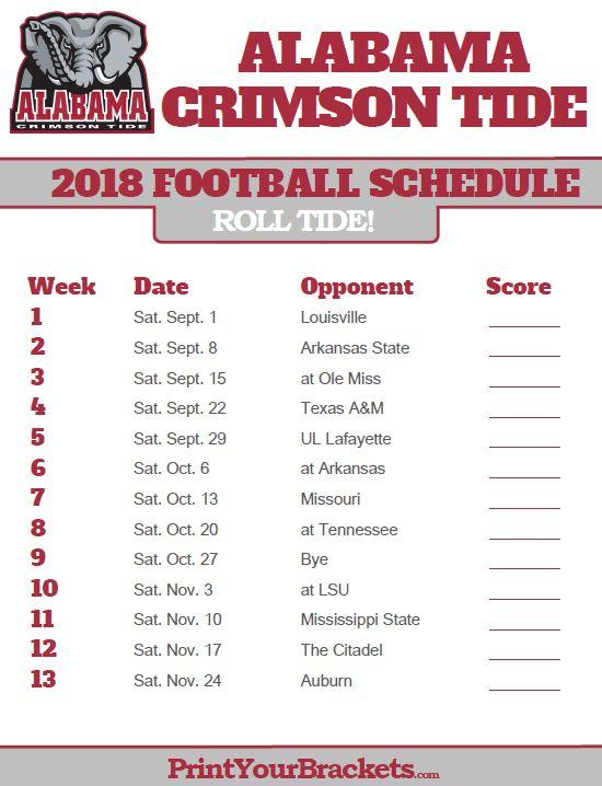 2018 Printable Alabama Crimson Tide Football Schedule