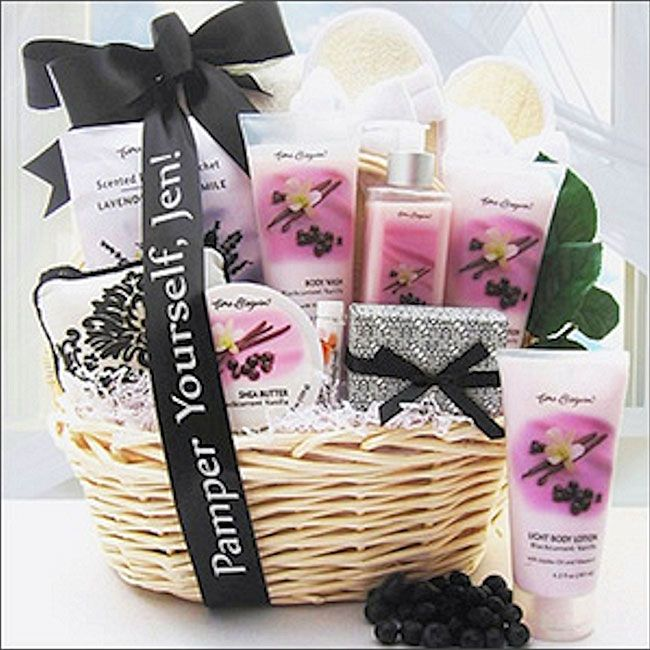 This overstuffed basket is filled with fruity and refreshing spa products for someone that could use some pampering. This gift is perfect for any occasion.