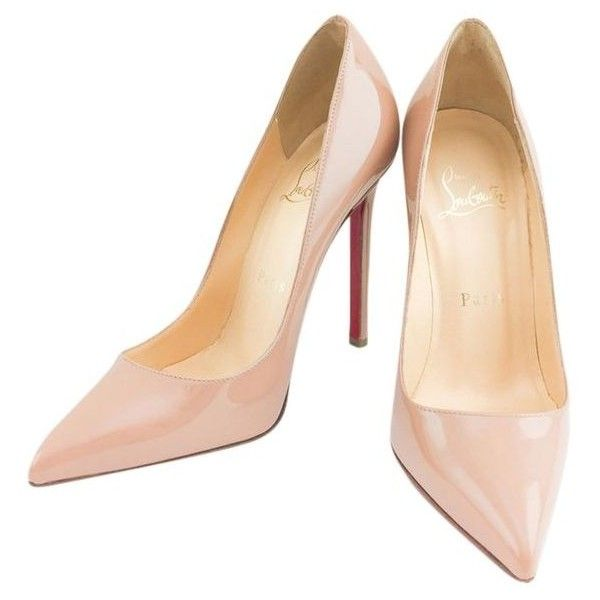 Pre-Owned Christian Louboutin #9869 Patent Leather Heel Size 36... ($450) ❤ liked on Polyvore featuring shoes, pumps, neutral, nude court shoes, pre owned shoes, nude footwear, christian louboutin pumps and christian louboutin