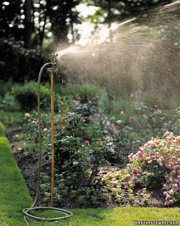 A simple bamboo pole elevates a sprinkler to another level, so each plant gets its fair share of water.