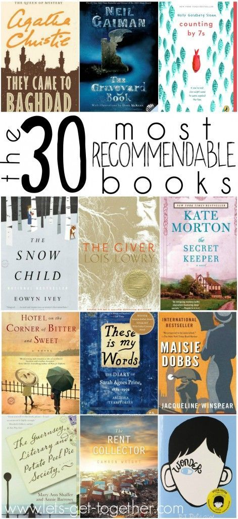 The 30 Most Recommendable Books - an awesome compilation put together by several book lovers! 1 and 24 are personal favorites. #books #read