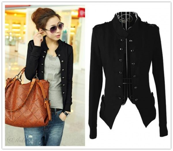 Korean Style Stand Collar Double Breasted Jacket.