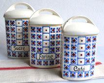 Sada 3 francouzské Klasické Úložné prostory v kuchyni kanystry Ceramic Mouka Cukr Káva v džbány Ditmar Urbach Caro