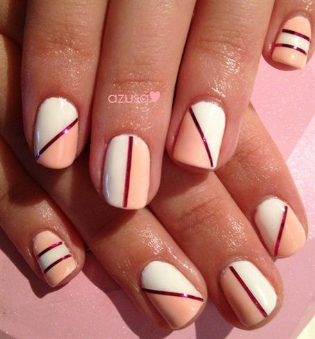 pink & white two tone nail❤ by azusa - Nail Art Gallery nailartgallery.nailsmag.com by Nails Magazine www.nailsmag.com #nailart